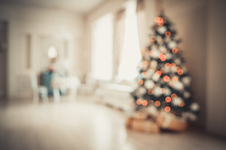 hearthside: Defocused background Living room with christmas tree