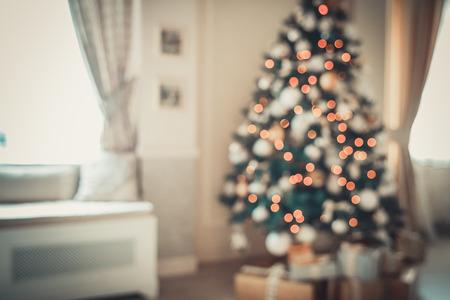 mantel: Defocused background Living room with christmas tree