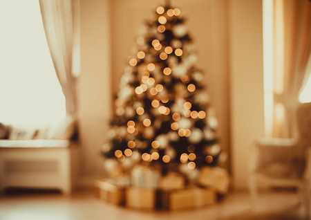 hearthside: Defocused background Living room with christmas tree