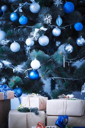 blue  toned: Christmas living room. Blue toned Stock Photo
