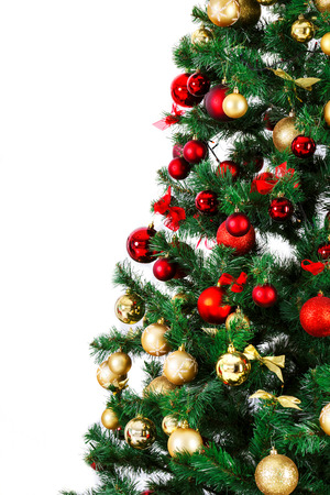 mantel: Decorated Christmas tree. Beautiful Christmas living room with Christmas tree