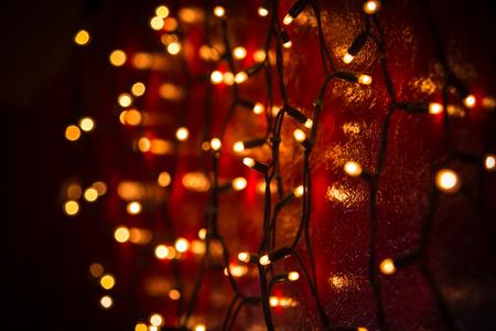 Christmas lights over dark background