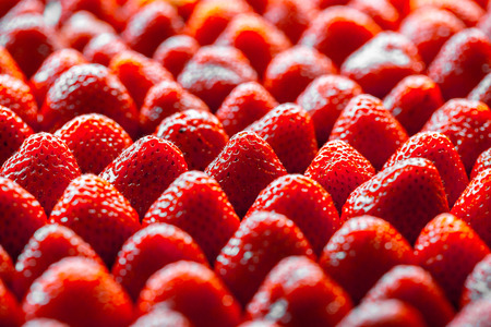 directly above: background from freshly harvested strawberries, directly above Stock Photo
