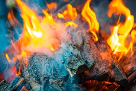 Beautiful burning fire flame background with smoke