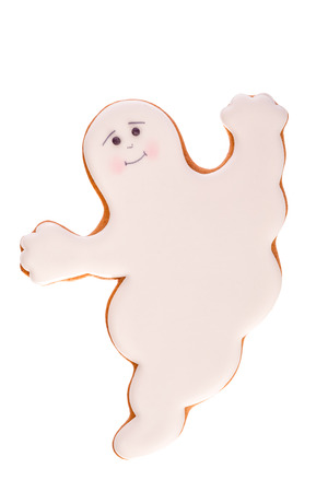 spectre: Funny beautiful delicious ginger biscuits Halloween in the form of a ghost, isolated on white