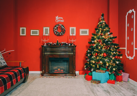 indoor background: Defocused background Living room with christmas tree and fireplace