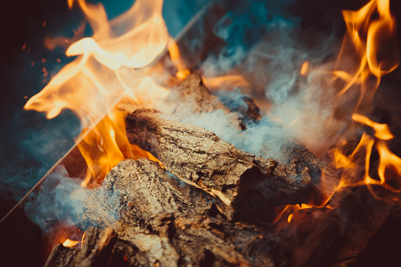 combustible: Beautiful burning fire flame background with smoke