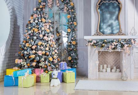 hearthside: Christmas living room with Christmas Tree and gifts