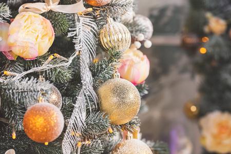 hearthside: Christmas living room with Christmas Tree Stock Photo