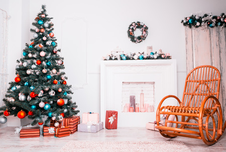 hearth and home: Beautiful Christmas Living Room with decorated Christmas tree, gifts and fireplace. The idea for postcards