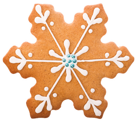 Beautiful and delicious gingerbread Christmas gingerbread snowflake isolated on white background