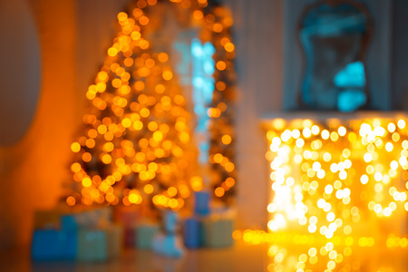 mantel: Defocused background Christmas Living room with christmas tree