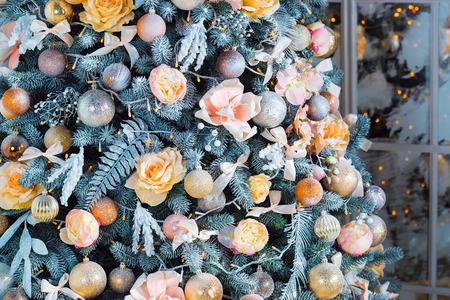 hearthside: Christmas living room with Christmas tree.