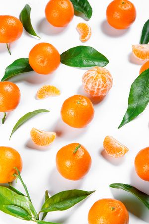 Ripe Orange Tangerine (Mandarin) With Leaves Close-up On The White Background. Stock Photo