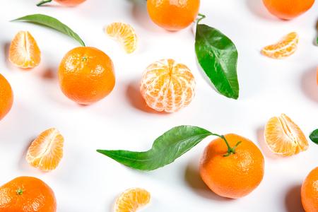 Ripe Orange Tangerine (Mandarin) With Leaves Close-up On The White Background. Stock Photo