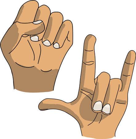 Hands showing fist rock goat, primitives, children's drawing from art school Ilustração