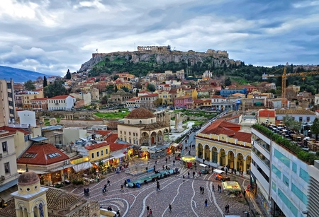 A View of the Acropolis and of Monastiraki quarter in Athens from above in the evening Imagens
