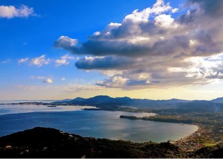 Evening Panorama of mountain and sea view in Pantokrator, Corfu, Greece
