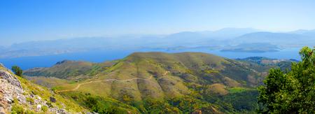 Panorama of mountain and sea view in Pantokrator, Corfu, Greece