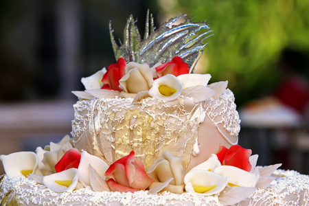 Wedding cake with the decoration closeup
