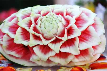 Flower Fruit carving from watermelon