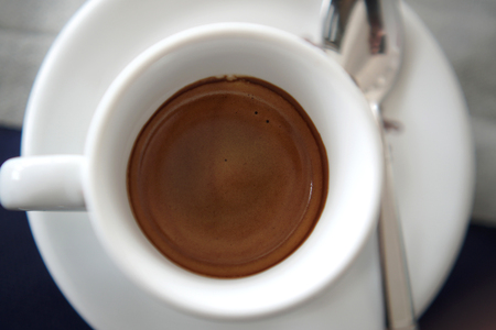 true Italian coffee in a white cup