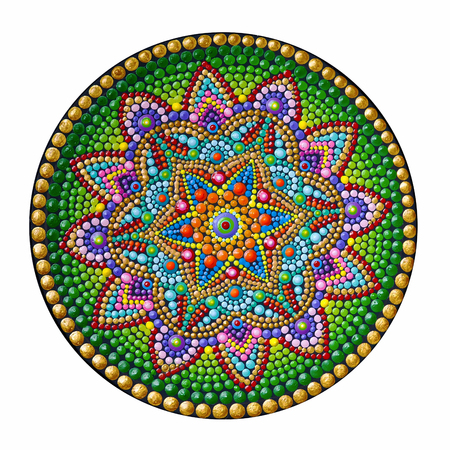 beautiful mandala hand painted on white background