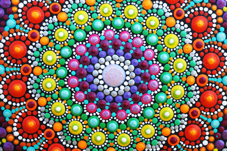 beautiful mandala hand painted with acrylic paint detail