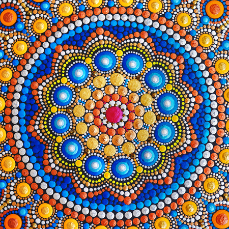 beautiful mandala hand painted with acrylic paint detail