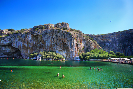 Vouliagmenis Lake, beautiful pond near Athens, GREECE Imagens