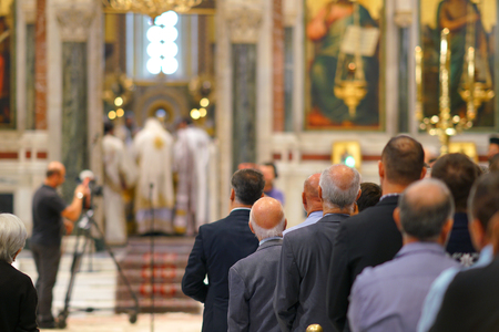 GREECE, ATHENS - 07 OCTOBER 2018 Holy Mass in Metropolitan Cathedral of Athens,on sundays Redakční