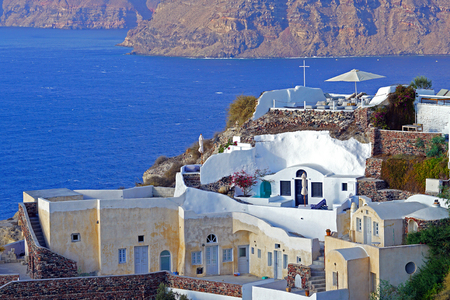 Beautiful view with luxury apartments in Santorini, Cyclades, Greece