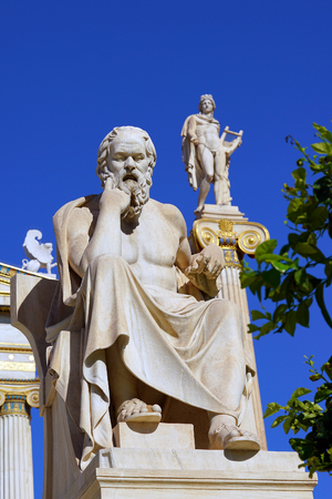 Statue of Socrates and Apollo in front of the University of Athens in Greece