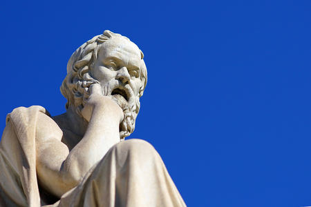 Statue of Socrates in front of the University of Athens in Greece