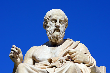 Statue of Plato and Athena in front of the Athene University in Greece