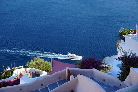 Beautiful and colorful view in Oia, Santorini, Greece