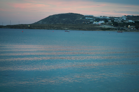 Beautiful view that you can admire after sunset from Kalafaty beach,Mykonos, Greece