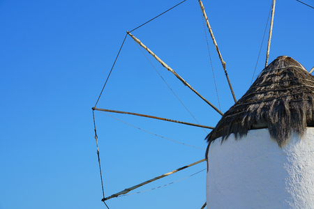 Detail of a characteristic windmill typical of the island of Mykonos in Greece
