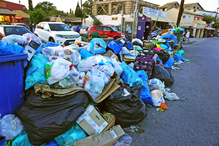 Corfu, Greece, October 18, 2018, Waste scattered throughout the island provokes criticism from the population and tourists Editorial