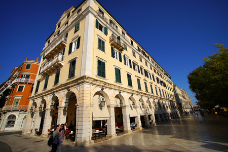 Corfu, Greece, October 18, 2018, the Liston is a famous building in Spianada Square that attracts many tourists
