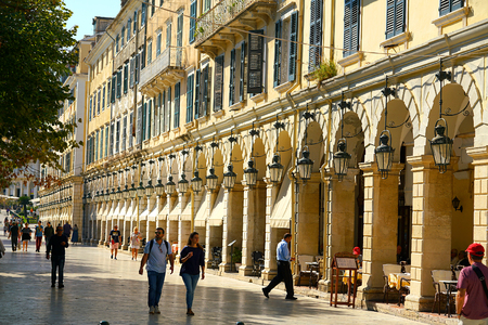 Corfu, Greece, October 18, 2018, View of the famous Liston building in the historic city center adjacent to Spianada Square