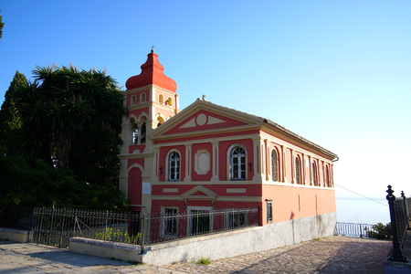 Picturesque Orthodox church in Corfu Town which is located adjacent to Spianada Square