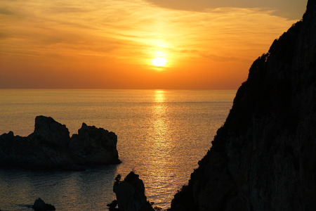 Colorful sunset as seen from the monastery of the Virgin Mary in Paleokastritsa
