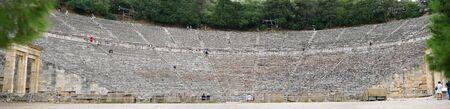 Epidaurus, Greece, 04 October 2019, panoramic view of the Epidaurus theater in October