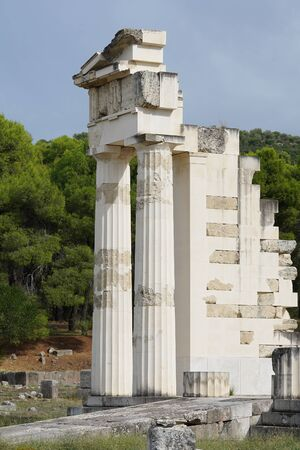 Detail of the Hestiatorion complex in the archaeological site of Epidaurus, Greece
