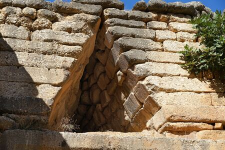 Detail of the Treasury of Atreus or Tomb of Agamemnon which is a large tholos or beehive tomb on the hill of Panagitsa in Mycenae, Greece