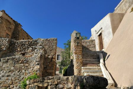 A view of the the city inside the mythical castle of Monemvasia in Greece