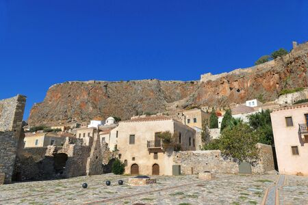 The city square inside the mythical castle of Monemvasia, in Greece Stock fotó