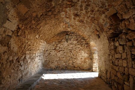 Detail of the structure of the city inside the mythical castle of Monemvasia, in Greece Stock fotó