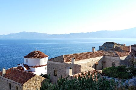 Panoramic view of the city inside the mythical castle of Monemvasia, in Greece Stock fotó